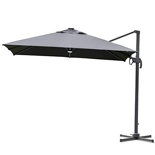 Outsunny Sonnenschirm 3x3m Ampelschirm Alu Roma Schirm mit Solar-LED-Lichtern neigbar Dunkelgrau