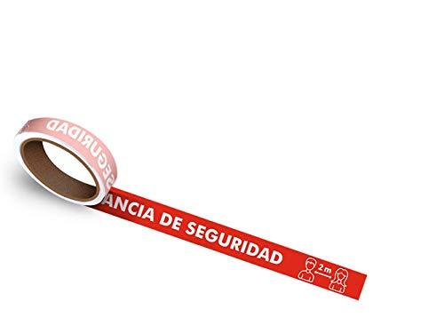 Oedim Rollo de 25 uds. De vinilos Adhesivos para Suelo   Adhesivo para Exteriores   100x5cm con el Texto: Mantenga La Distancia De Seguridad