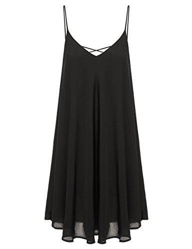Romwe Women's Summer Spaghetti Strap Sundress Sleeveless Beach Slip Dress Black L