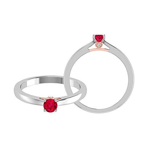 Anillo solitario de rubí de 0,34 quilates, 1 mm, anillo de diamantes HI-SI, oro, anillo de compromiso de dos tonos (rubí redondo de 4 mm), 14K Oro amarillo, Size:EU 68