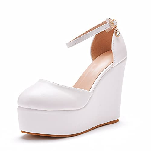 Zapatos De Novia para Mujer Punta Redonda Tacón De Cuña Zapatos De...