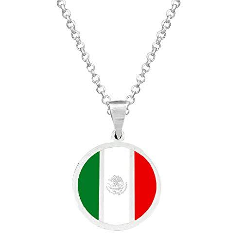 Yo Me Quedé en Casa Colgante Plata Bandera México18mm   Colgante Hombre Plata   Colgante Plata Mujer   Collar Personalizado   Bandera de México  Regalo Original (Personalizado, 45)