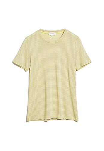 ARMEDANGELS LIDAA Ring Stripes - Damen T-Shirt aus Tencel™ Lyocell Mix L Lime-kitt Shirts T-Shirt Rundhals Slim Fit