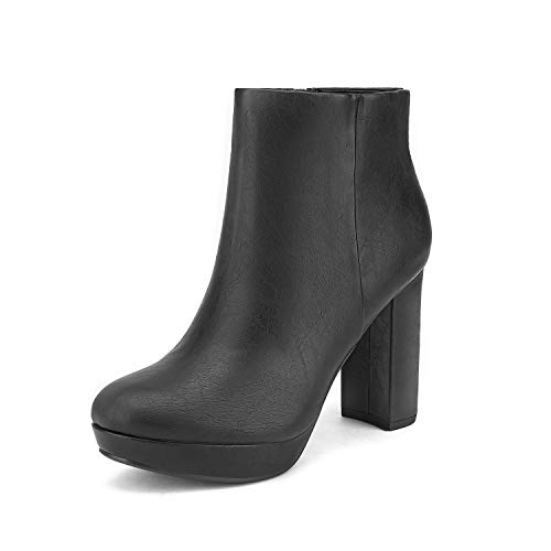DREAM PAIRS Women's Stomp Black Pu High Heel Ankle Boots Size 9 B(M) US