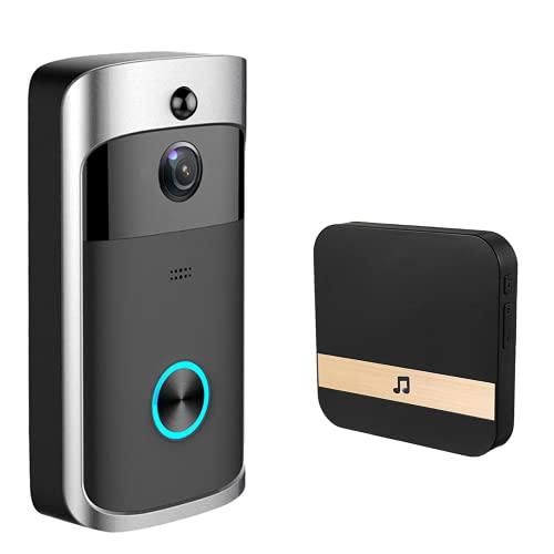 Videoportero inalámbrico con detección de movimiento, cámara visual, gran angular, Smart Video Doorbell HD, visión nocturna de dos vías, cámara de vigilancia para casa