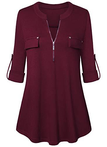 Amrto Damen V-Ausschnitt Bluse 3/4 Ärmel Tunika Reißverschluss Langshirt Langarm Hemd Tops T-Shirt Oberteile, Weinrot Large