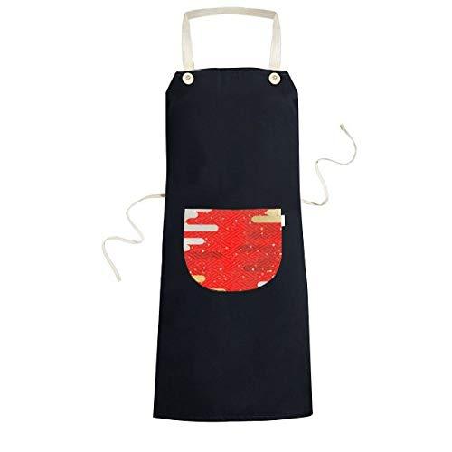 Wolken Geometrie Rood Patroon Japan Koken Keuken Zwarte Bib Schorten Met Pocket voor Vrouwen Mannen Chef Geschenken