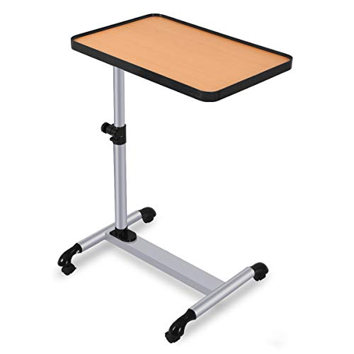 COSTWAY Mesa para Ordenador con Ruedas de Freno Altura Ajustable Escritorio Mesa Auxiliar para Sofá Cama Portátil