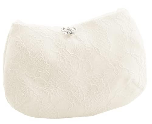 BB-Bridal Romantische Brauttasche mit Satin Blütenverzierung in ivory - passend zu Rainbow Schuhen