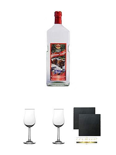 Wildsautropfen mit Himbeernote Eigenflasche 0,7 Liter + 2 Bugatti Nosing Gläser mit Eichstrich 2cl und 4cl + 2 Schiefer Glasuntersetzer eckig ca. 9,5 cm Ø
