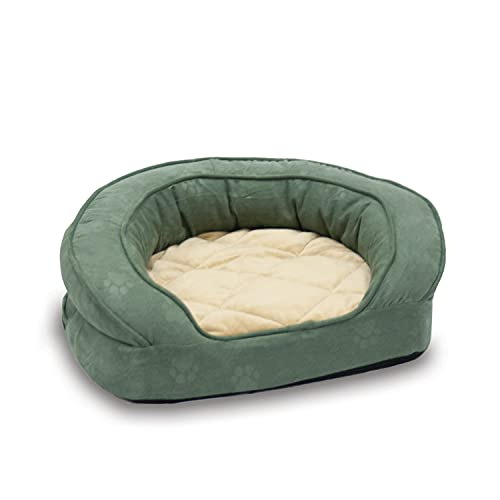 K&H Pet Products Deluxe Ortho Bolster Sleeper Pet Bed Large Green Paw Print 40'