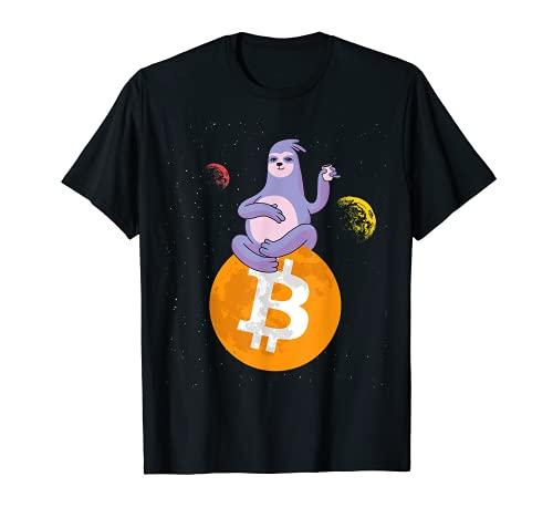Bitcoin perezoso - Crypto Space Moon Camiseta