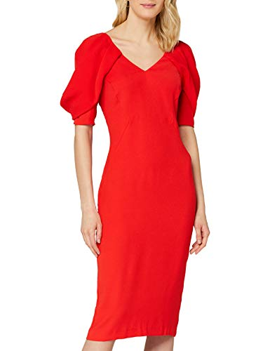 Marchio Amazon - TRUTH & FABLE Vestito Donna con Manica Voluminosa, Rosso (Red), 46, Label: L