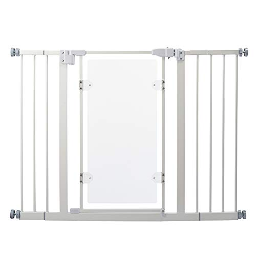 Walk Thru Baby Gate,Pet Safety Gate Metal Expandable Acrylic Clear-View Auto-Close with Pressure Mount with 10 cm & 15cm Extension,Fits Spaces Between 76 to 110 cm Wide 82 cm High