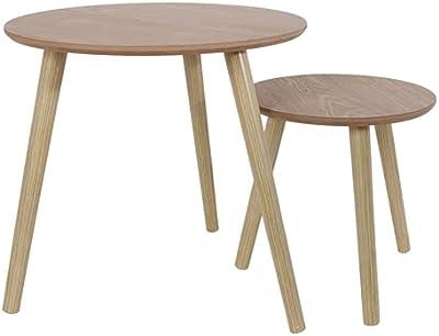 THE HOME DECO FACTORY HD6148 Lot de 2 Tables Gigogne, Matière Bois, Beige, 48 x 45 x 48 cm