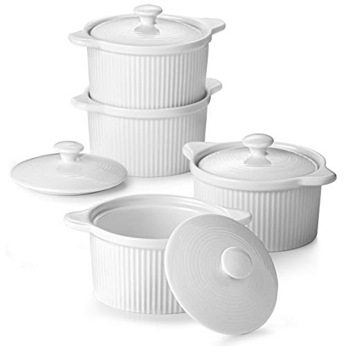 DOWAN Porcelain Ramekins with Lid for Baking, 8 oz Souffle Dish Oven Broiler Safe, Mini Casserole with Lid, Stackable Ramekins with Cover and Handle for Creme Brulee, Set of 4, White