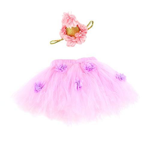 Baby Meisje Tutu Rok Pasgeboren Fotografie Prop Korte Jurk Baby 3D Bloem Bubble Tule Outfit Sets met Hoofdband Newborn roze