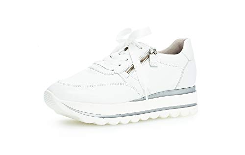 Gabor Damen Sneaker, Frauen Low-Top Sneaker,Best Fitting,Reißverschluss,Optifit- Wechselfußbett, sportschuh Plateau-Sohle Damen,Weiss,40 EU / 6.5 UK