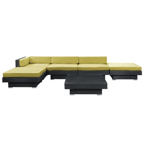 Big Sale LexMod Laguna Outdoor Wicker Patio 6 Piece Sectional Sofa Set In Espresso with Peridot Cushions