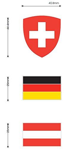 FLAGGE/FAHNE FÜR DEUTSCHLAND/ÖSTERREICH/SCHWEIZ AUS FLEXIBLEM PVC MATT/GLÄNZEND 4x2,5cm