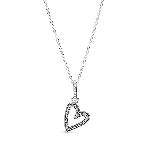 Auténtica plata de ley 925 brillante corazón a mano alzada collar colgante de moda para mujer Pandora Charm regalo DIY joyería