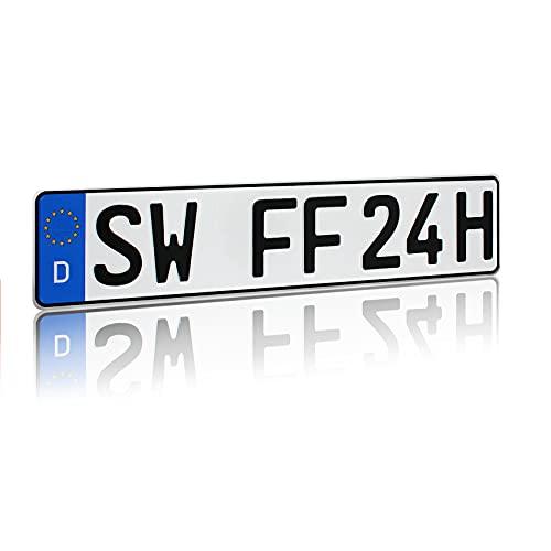 Finest Folia DIN-zertifizierte Kfz-Kennzeichen Standardgröße 520x110mm passend für Auto Fahrradträger Anhänger offizielle Nummernschilder Wunschkennzeichen (05 Kennzeichen Anhänger)