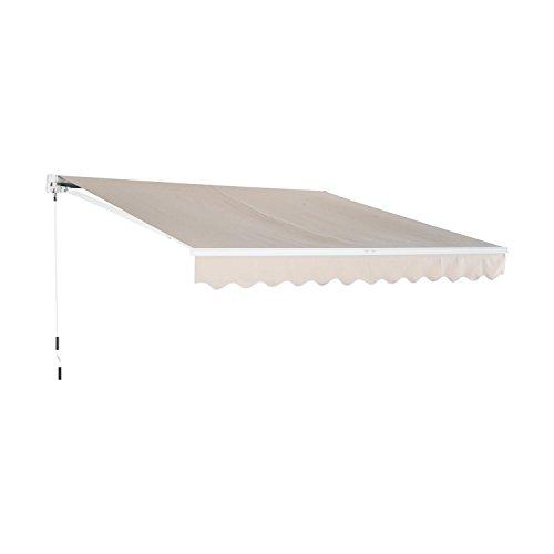 Outsunny Tenda da Sole Avvolgibile da Esterno Impermeabile in Poliestere, Beige, 300 × 250 cm