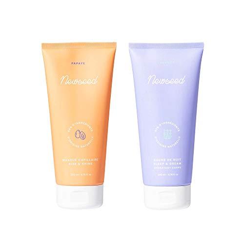 Newseed - Masque Cheveux Secs et Abimés Rise & Shine 200ml + Baume de Nuit Sleep & Dream 200ml - 98% d'Ingrédients d'Origine Naturelle - Set Cocooning - Fabriqué en France
