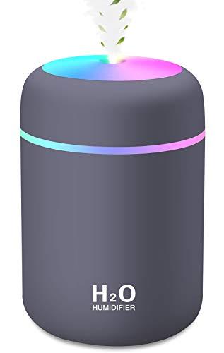 Mini Luftbefeuchter, 300ml Wassertank mit USB, Ultra Leise Luftbefeuchter Ultraschall für Schlafzimmer Kinderzimmer, Bunter Cooler Nachtlicht, Auto-Abschaltung