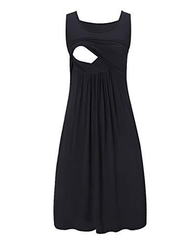 Love2Mi Damen Umstandskleid Streifen Stillkleid Ärmellos Schwangere Sommerkleid-Schwarz-XL