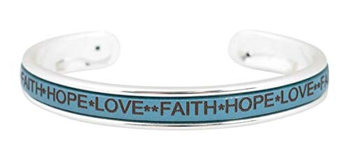 Armreif Faith Hope Love mit Ledereinlage (Blau)