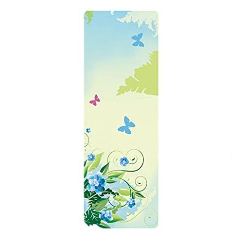 FENGCHENG Tpe Esterilla de yoga antideslizante de ante con color principiante Fitness Yoga Mat Pansy 183 cm x 61 cm x 0,5 cm