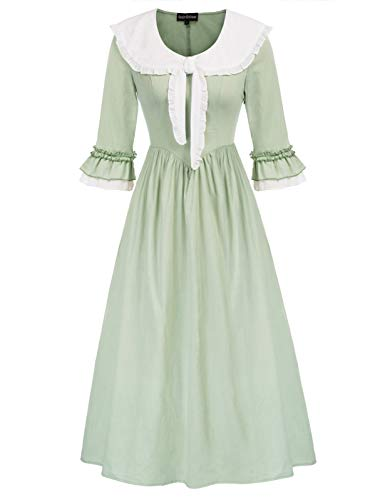 SCARLET DARKNESS Mujer Vestido Vintage de Novia con Corbata para Casual Medieval Victoriano Verde Claro