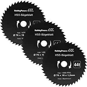 3 Stück HSS Kreissägeblatt 76 x 10 mm 44 Zähne Sägeblatt Neu für Mini Handkreissäge Tauchsäge Kreissäge