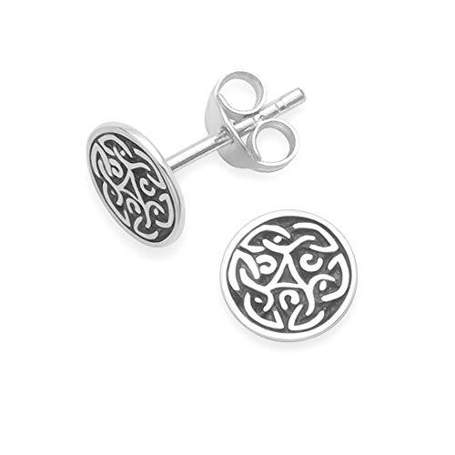 Broche de plata de ley Celtic Juego de pendientes de tuerca redondo - TAMAÑO: 7 mm 5048. Empaquetadas en nuestra calidad plateado caja de regalo por 1st class mail