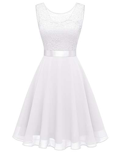 BeryLove Women's Short Floral Lace Bridesmaid Dress A-line Swing Party DressBLP7005WhiteS