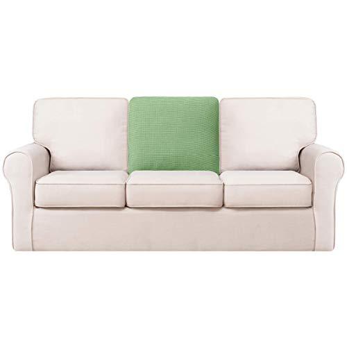 Hokway Sofa Backrest Cushion Cover, Stretchable Sofa Back Slipcovers, Small Checks Jacquard Fabric Sofa Seat Covers, Washable Back Cushion Protector with Elastic Bottom (Rectangular, Light Green)