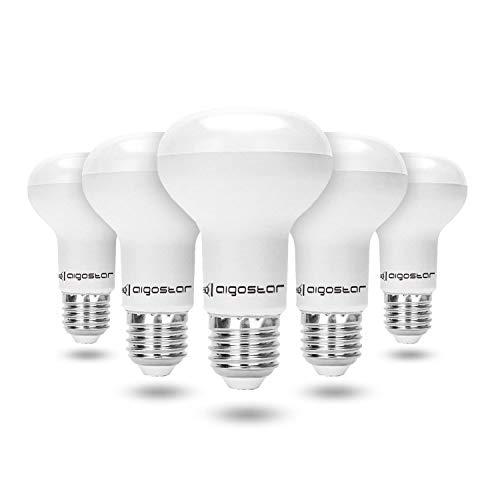 Aigostar - Pack de 5 Bombilla LED E27 9W R63,cálida luz 3000K, 760 lúmenes, Ángulo 170°, No regulable
