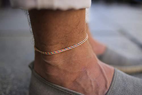 Made by Nami Dünnes Wickel-Fußband für Herren & Damen mit Karabiner-Haken Verschluss - Handmade Männer Fußkettchen - Surfer-Schmuck Herren-Schmuck - 100% Wasserfest & Verstellbar (Retro Gold)