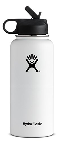Hydro Flask Vacuum Insulated Stainless Steel Water Bottle Wide Mouth with Straw Lid (White, 32-Ounce)