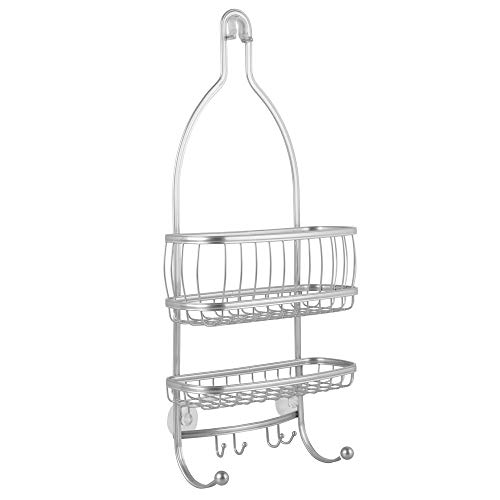 iDesign York Metal Wire Hanging Shower Caddy, Extra Wide Space for Shampoo, Conditioner, and Soap with Hooks for Razors, Towels, and More, Set of 2, Silver