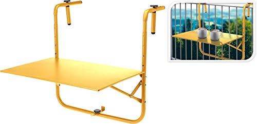 Fair-Shopping Balkontisch Hängetisch Klapptisch Terrassentisch zum Einhängen Gelb 40x60cm X480