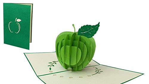 LIN17650, POP- UP Karten, POP UP 3D Karten Gute Besserung, 3D Grußkarten Apfel, 3D Karte Klappkarte Geburtstagskarte, Grüner Apfel, N378