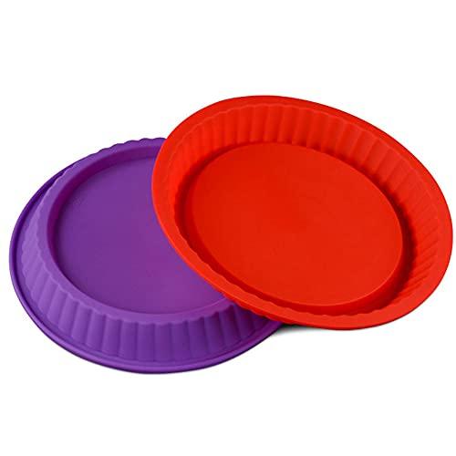 2 Stück Runde Obstkuchenform, Tortenbodenform Flexxibel, Silikon Kuchenform, Silikon Backform Quicheform, Für Pie, Quiche, Obstkuchen