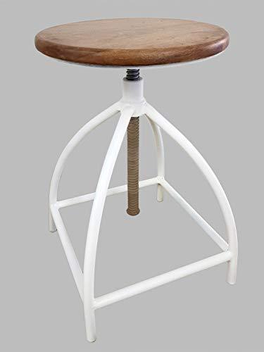 Drehhocker Barhocker Hocker Drehstuhl höhenverstellbar Liverpool Holz Metall-Gestell schwarz Farbe reinweiß - Tabacco