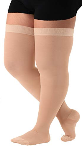 Absolute Support - Made in USA - Size Medium - Thigh High Compression Stockings 20-30 mmHg for Women and Men with Closed Toe - Over the Knee Compression Hose for Circulation - Beige