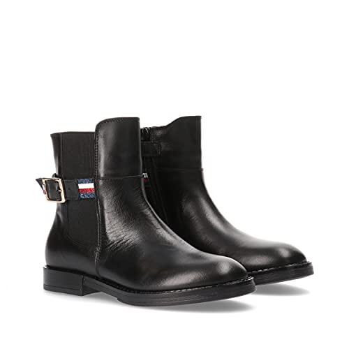 Tommy Hilfiger Damen Stiefel Chelsea Boot Bootie Boot's Flat-Form Sohle 90er, Farbe:Schwarz, Größe:EUR 38