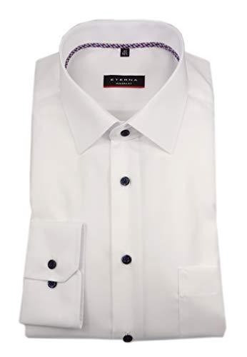eterna Herren Langarm Business Hemd Modern Fit Uni Popeline Modern-Kent-Kragen Unifarben Brusttasche 1300.X19P (Weiß, 41)