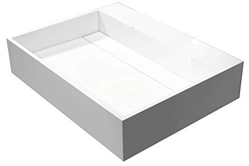 Bernstein Badshop Wandwaschbecken PB2080 Hänge-Waschbecken aus Mineralguss - 60 x 46 x 13 cm - Weiß matt