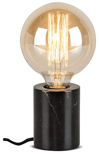 it's about RoMi ATHENS Lampe de table en marbre, lampe de table moderne, LED et ampoule, douille E27, 40 Watt (Noir)